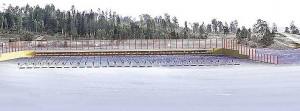 Визуализация: вид с трибуны лыжно-биатлонного стадиона