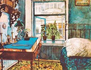 Работа Кукрыникса – Николая Соколова – вид из окна на Соборную площадь и собор.