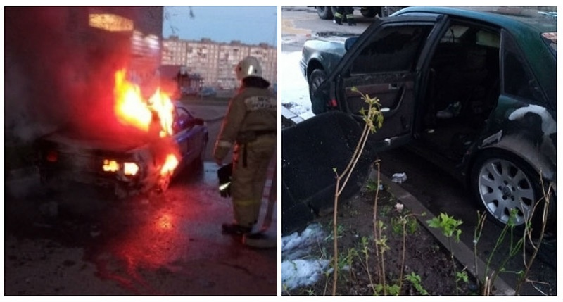 Сегодня ночью вРыбинске сгорела Ауди