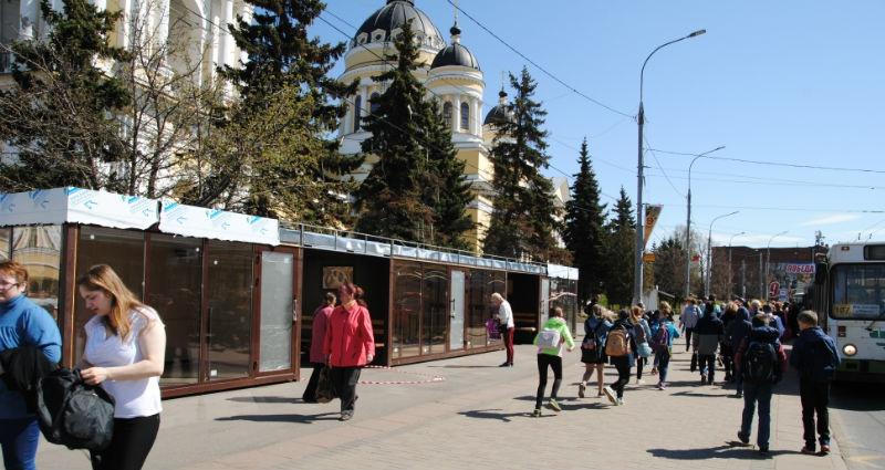 остановка на соборной площади в Рыбинске